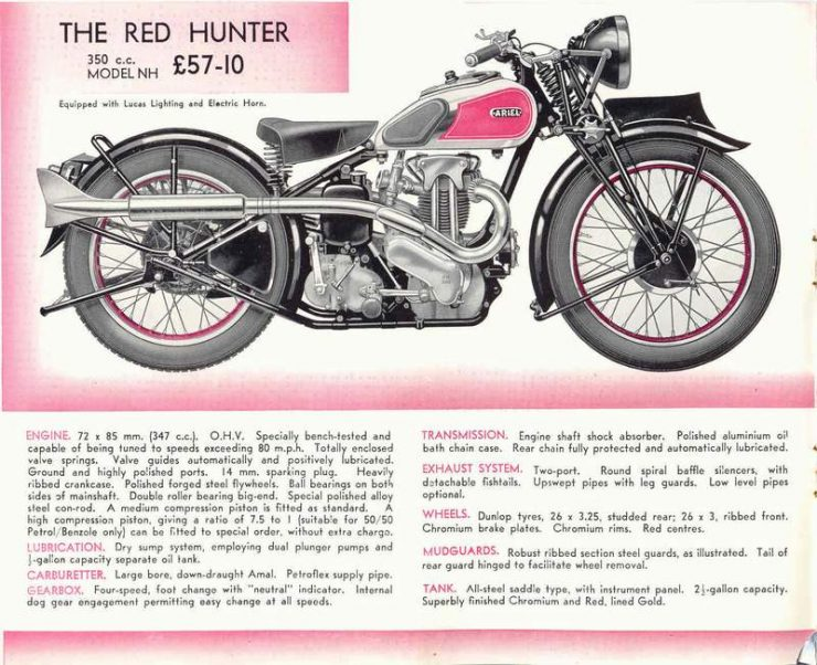 Ariel Red Hunter motorcycle advertisement