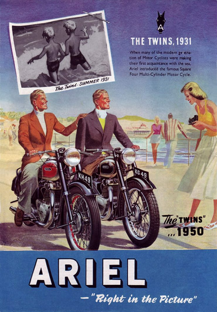 Ariel Red Hunter twin motorcycle advertisement