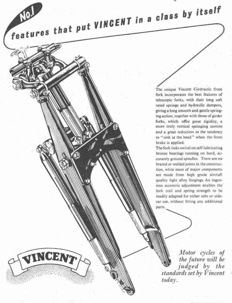 Vincent girdraulic motorcycle forks