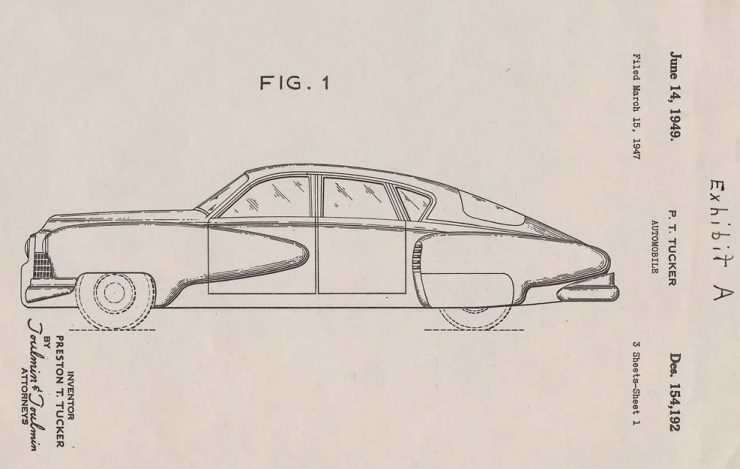 A Tucker '48 Sedan design patent illustration