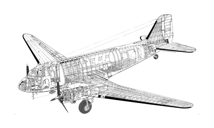 Douglas DC-3 Cutaway Drawing Blueprints