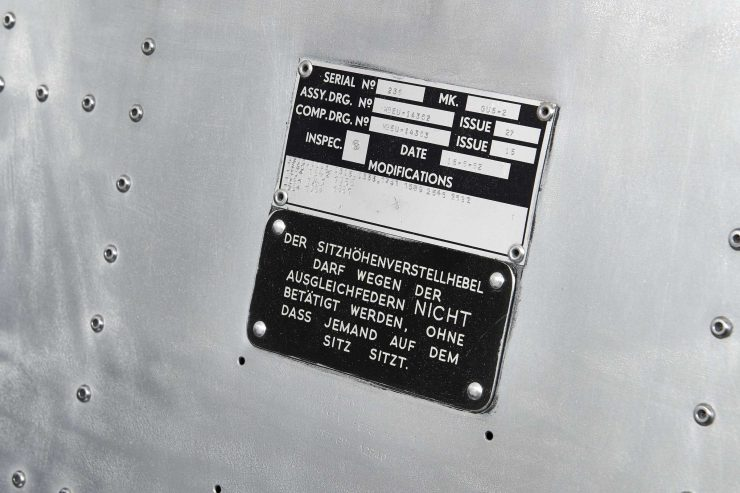 Martin-Baker Mk 5 Ejection Seat ID Plate