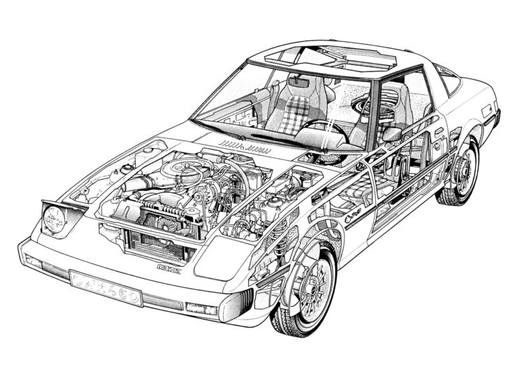 Mazda RX7 sports car cutaway diagram