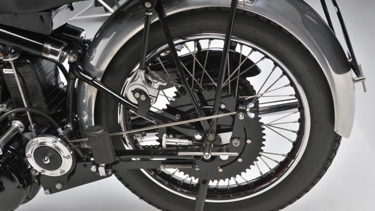 Vincent Black Shadow cantilever rear suspension reversible rear wheel