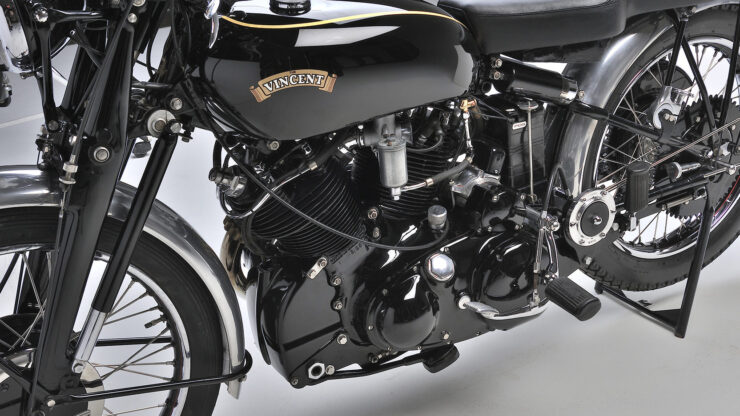 Vincent Black Shadow Girdraulic forks motorcycle