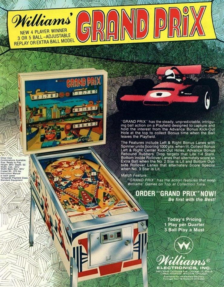 Grand Prix Pinball Machine by Williams