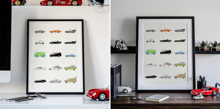 The Film Classic Car Poster by Rear View Prints – Can You Name Them All?