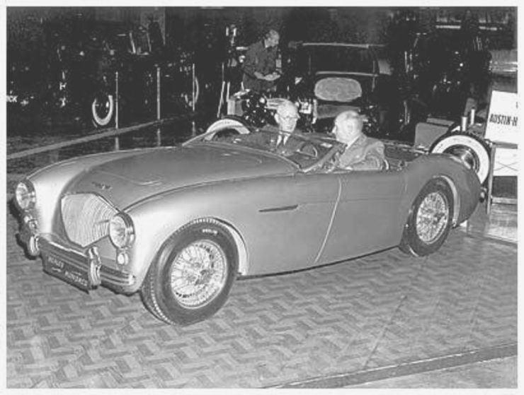 Leonard Lord and Donald Healey Healey sports car