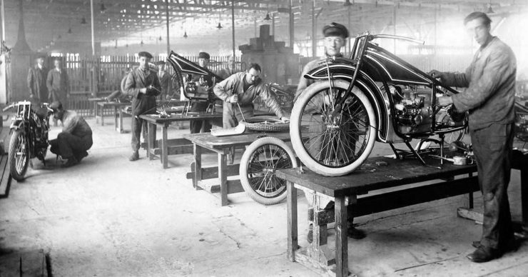 Vintage BMW Motorcycle Factory