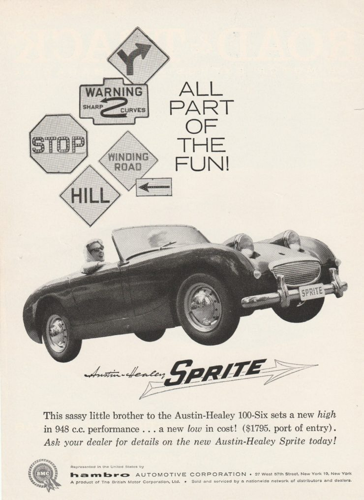 Austin Healey Sprite spots car advertisement