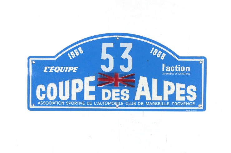 Coupe Des Alpes Rally Plate, 1968