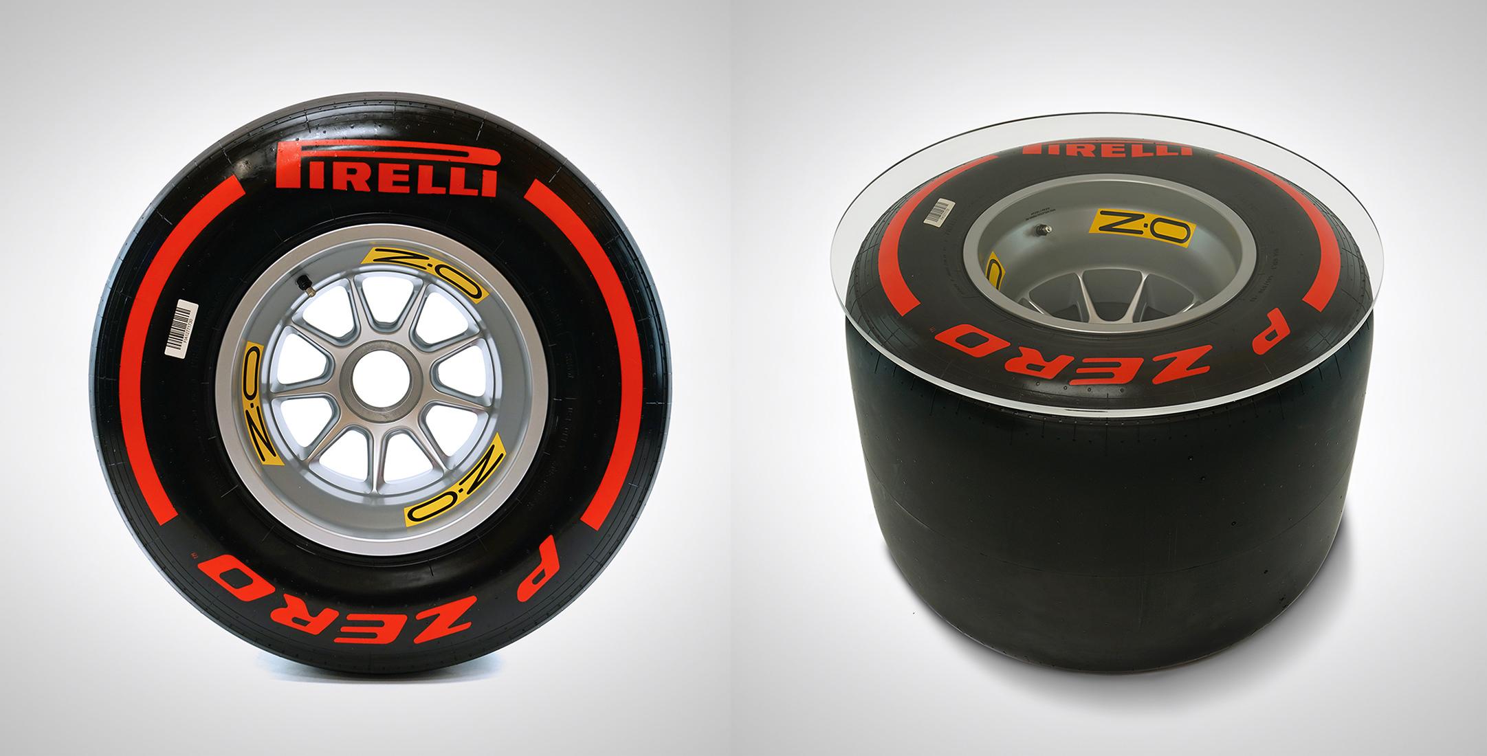Formula 1 Wheel and Pirelli Tire Coffee Table Side 1