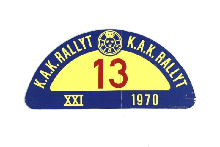 K.A.K Rallyt Rally Plate, 1970
