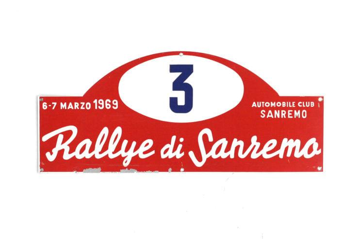 Rallye Di San Remo Rally Plate, 1969