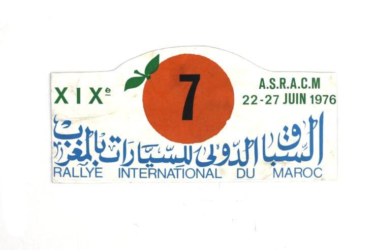 Rallye International Da Maroc' Rally Plate, 1976