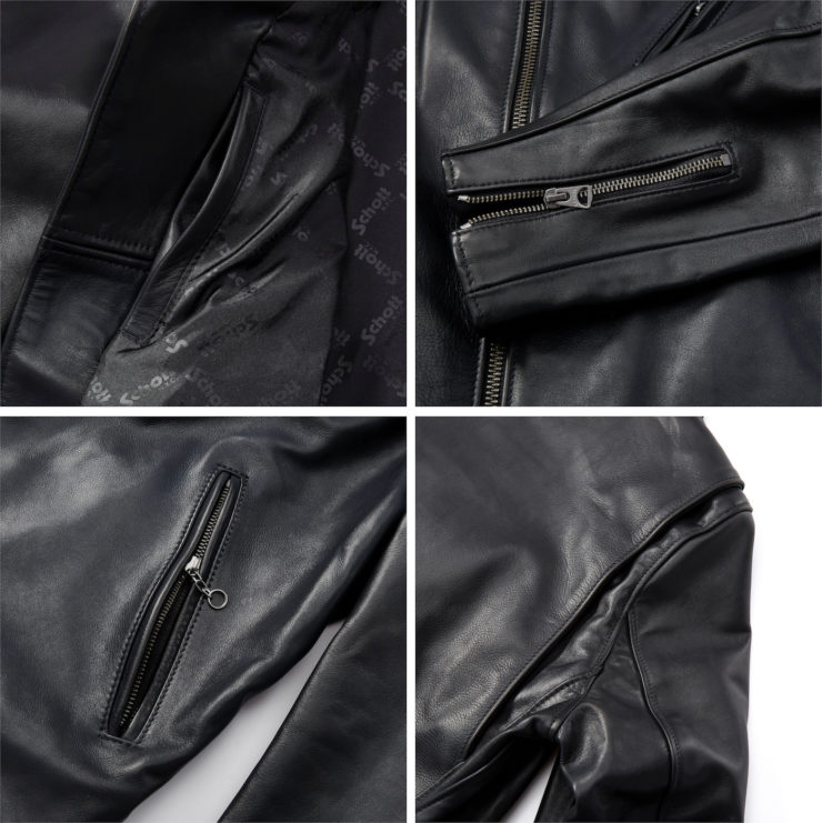 Schott Light Weight Cowhide Motorcycle Jacket Collage