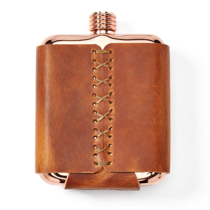 Whiskey Leatherworks The Clark Fork Copper Flask Back
