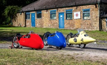 Yellow Peril, Scarlet Peril, and Blue Peril Sprint Racing Triumph