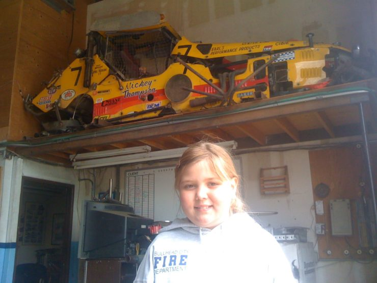 2011, race car found in Eugene Oregon at Lyndy Thompson's (Mickey's daughter) race shop with my daughter Hanna. Photo credit Rory Ward