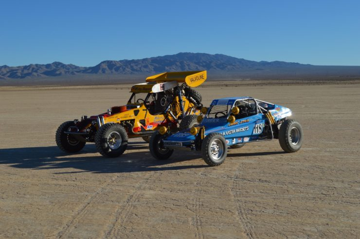 "2015 Mint 400 photo shoot with the Mark Stahl Chenowth. These two cars competed in the same class together with the Mark Stahl car being the ""standard"" type Class 1 cars back in the day. Look how much bigger Challenger IV is compared to the buggy."