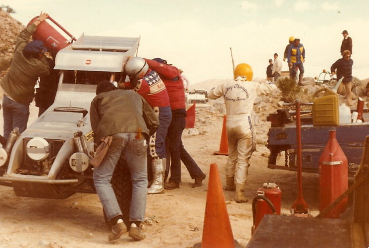 First race, 1978 Mexicali 300, Mickey Thompson (silver helmet) and Danny Thompson (yellow helmet) driver change 1978. Photo credit Bruce Parrish