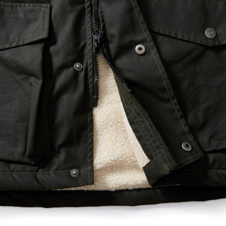 Flint and Tinder Sherpa-Lined Waxed Ridge Parka Detail 4