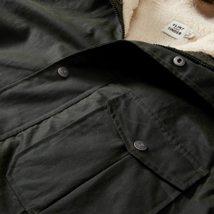 Flint and Tinder Sherpa-Lined Waxed Ridge Parka Detail