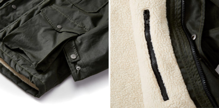 Flint and Tinder Sherpa-Lined Waxed Ridge Parka Details 2