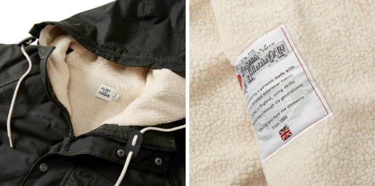 Flint and Tinder Sherpa-Lined Waxed Ridge Parka Details