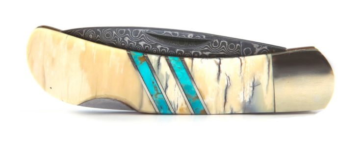 Mammoth Tusk + Turquoise Damascus Blade Pocket Knife By Santa Fe Stoneworks 3