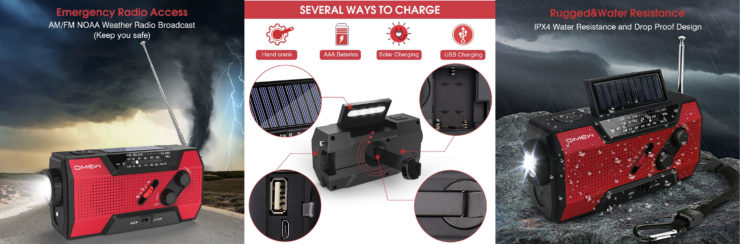 Survival Solar Hand Crank Phone Charger + Emergency NOAA Weather Radio Collage