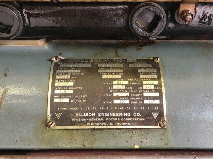 Allison V-1710 aircraft engine ID plate