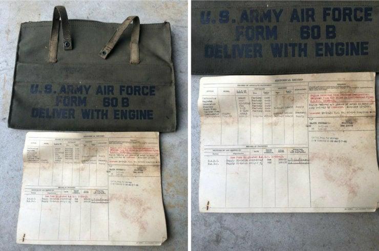 Allison V-1710 aircraft engine document bag