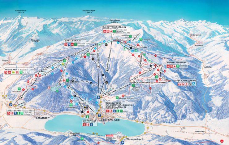 Zell am See Ski Map Austria
