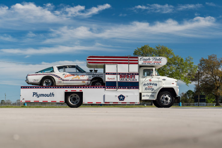 1966 Plymouth Barracuda Drag Car with 1965 Dodge C-500 Hauler 3
