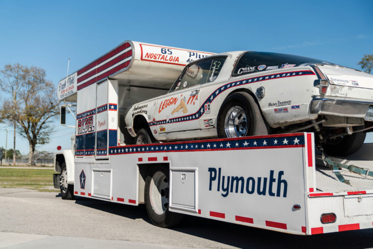 1966 Plymouth Barracuda Drag Car with 1965 Dodge C-500 Hauler 7