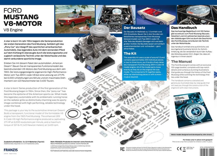 Ford 1965 Mustang V8 Engine Model Kit Box Back