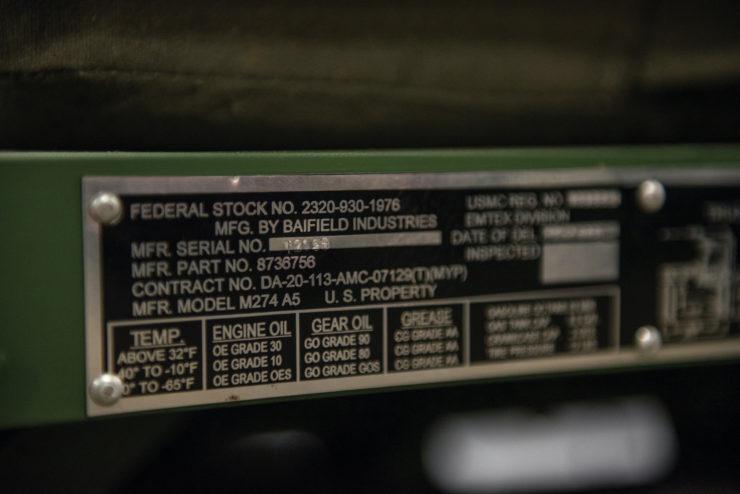 M274 Mule 1/2 Ton 4x4 VIN Plate