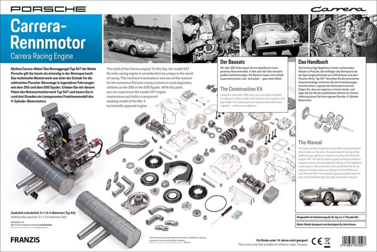 Porsche Carrera Type 547 4-Cylinder Boxer Engine Scale Model Box Back