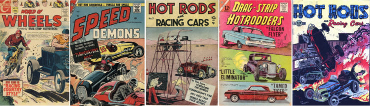 Drag Strip Hotrodders Comic Book Collage