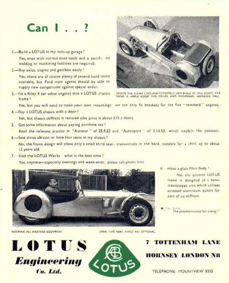 Lotus MkVI advertisement