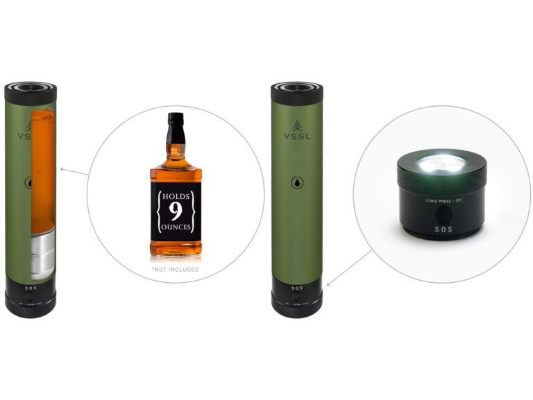 The VSSL Flask - An LED Flashlight With A 9 oz Whisky Flask Built In