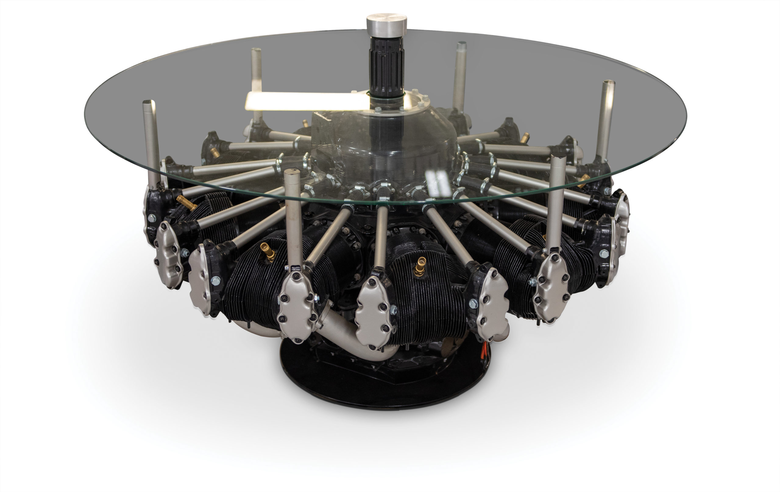 B-17 Flying Fortress Radial Engine Glass Coffee Table