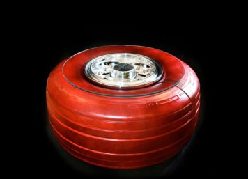 Boeing 747 Wheel + Tire Coffee Table by Plane Industries