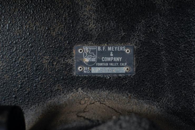 Meyers Manx SR VIN Plate