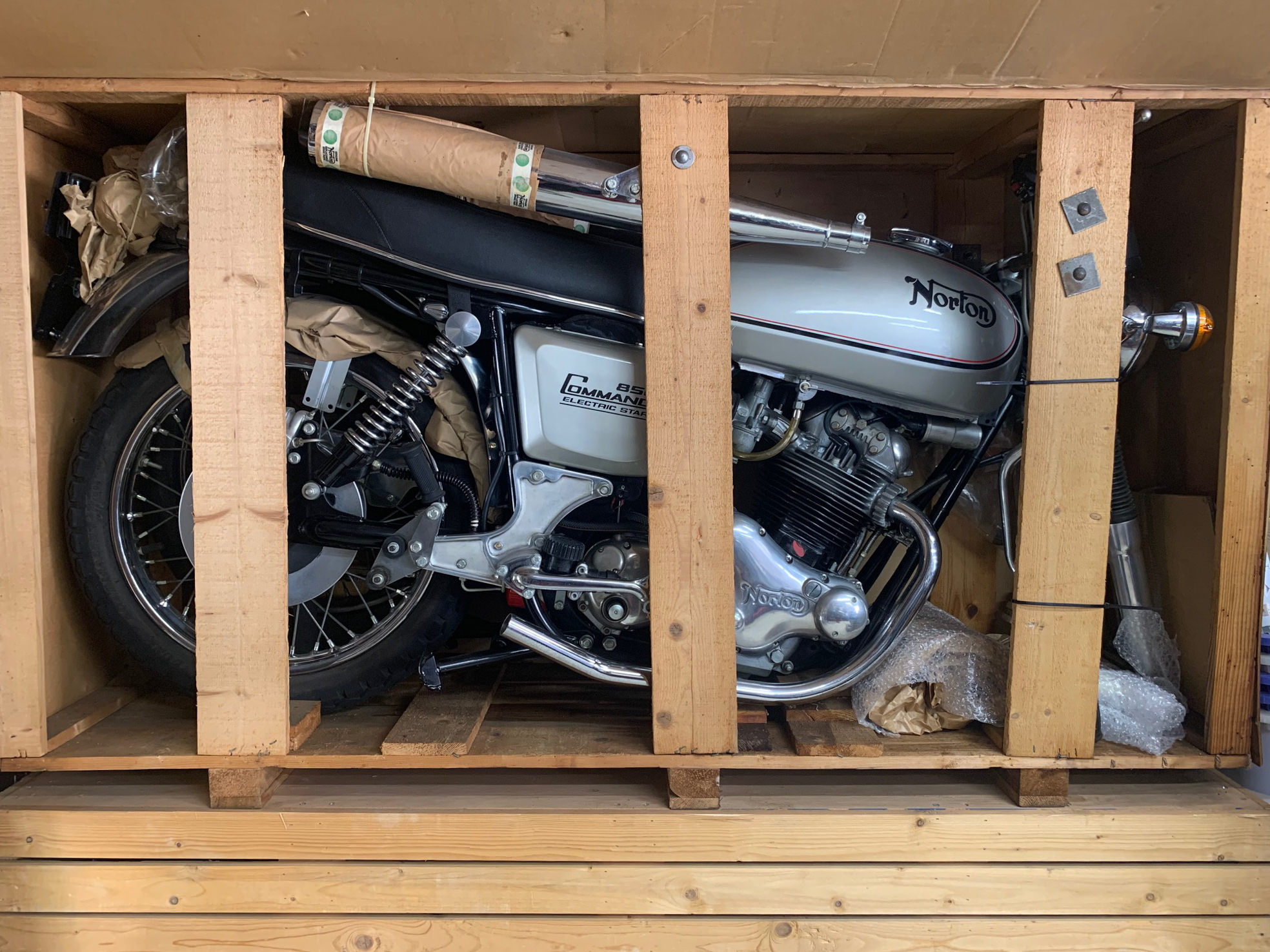For Sale: Still In Its Factory Crate – A 1977 Norton Commando Interstate