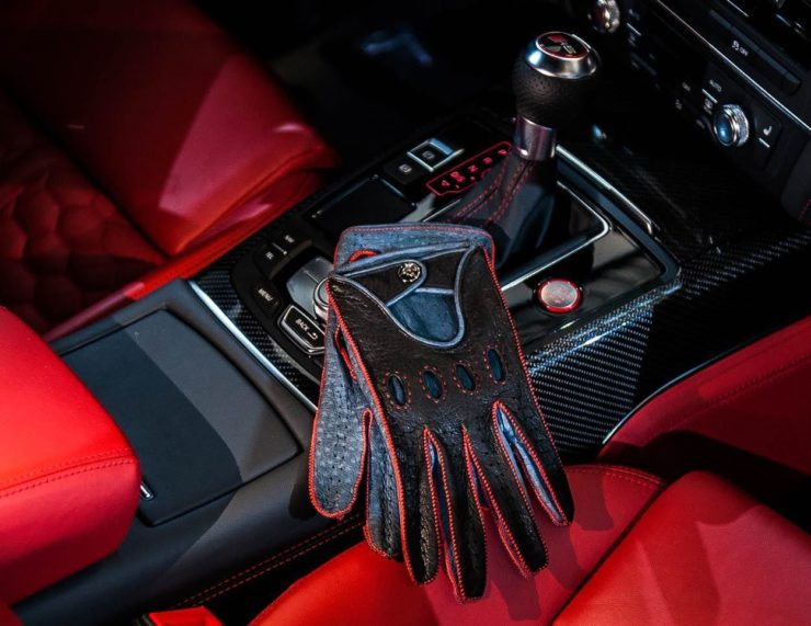 Opinari Rosso Acceso Peccary Leather Driving Gloves 8
