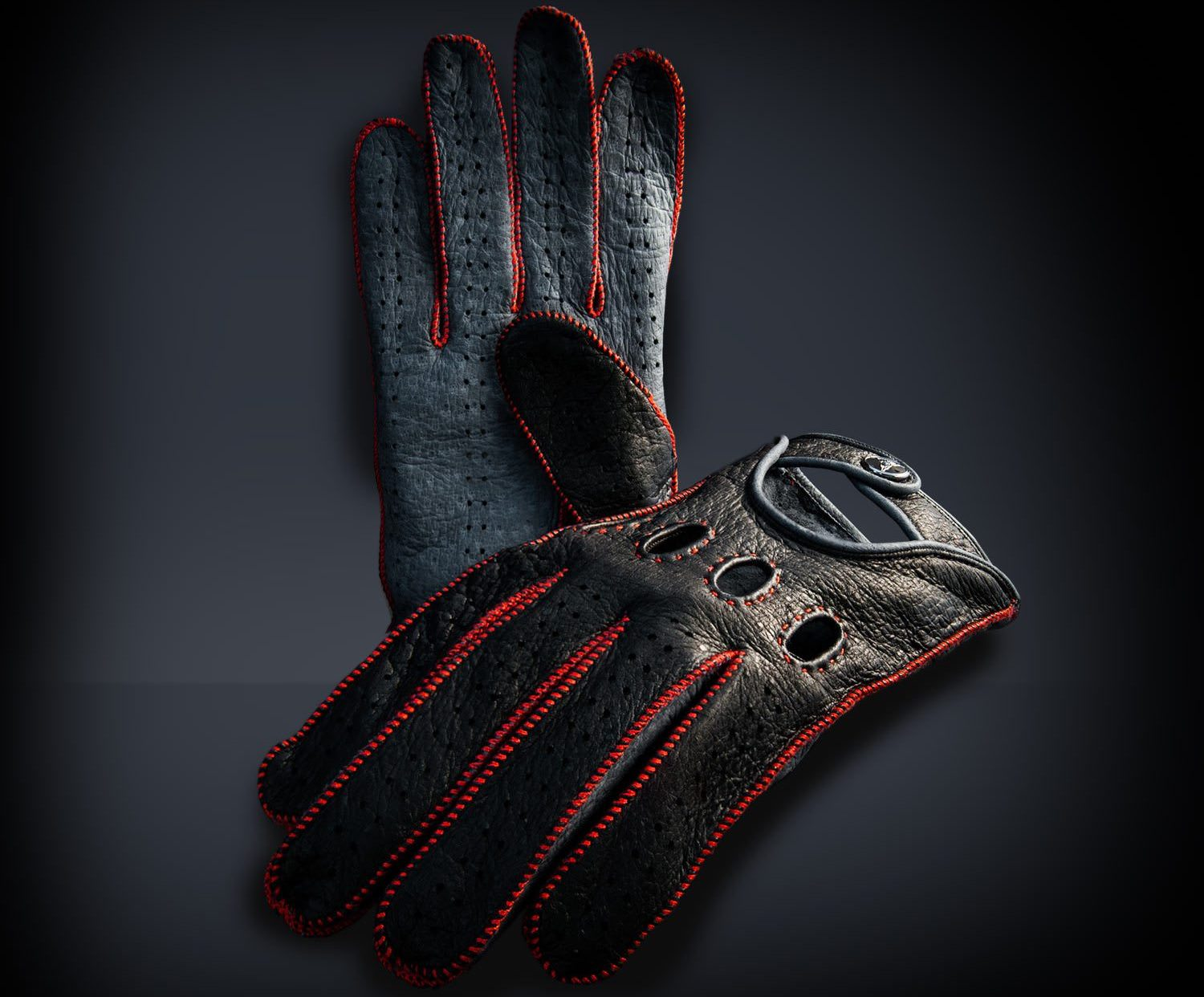 Opinari Rosso Acceso Peccary Leather Driving Gloves 9