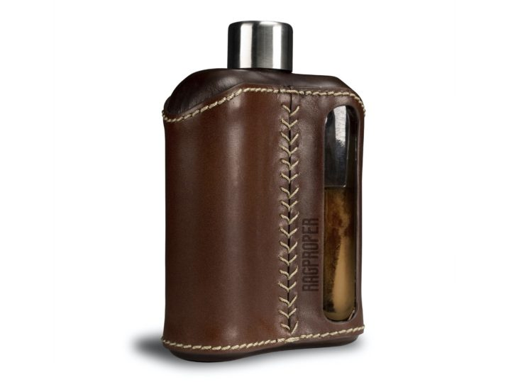 Ragproper Leather + Glass Flask Side