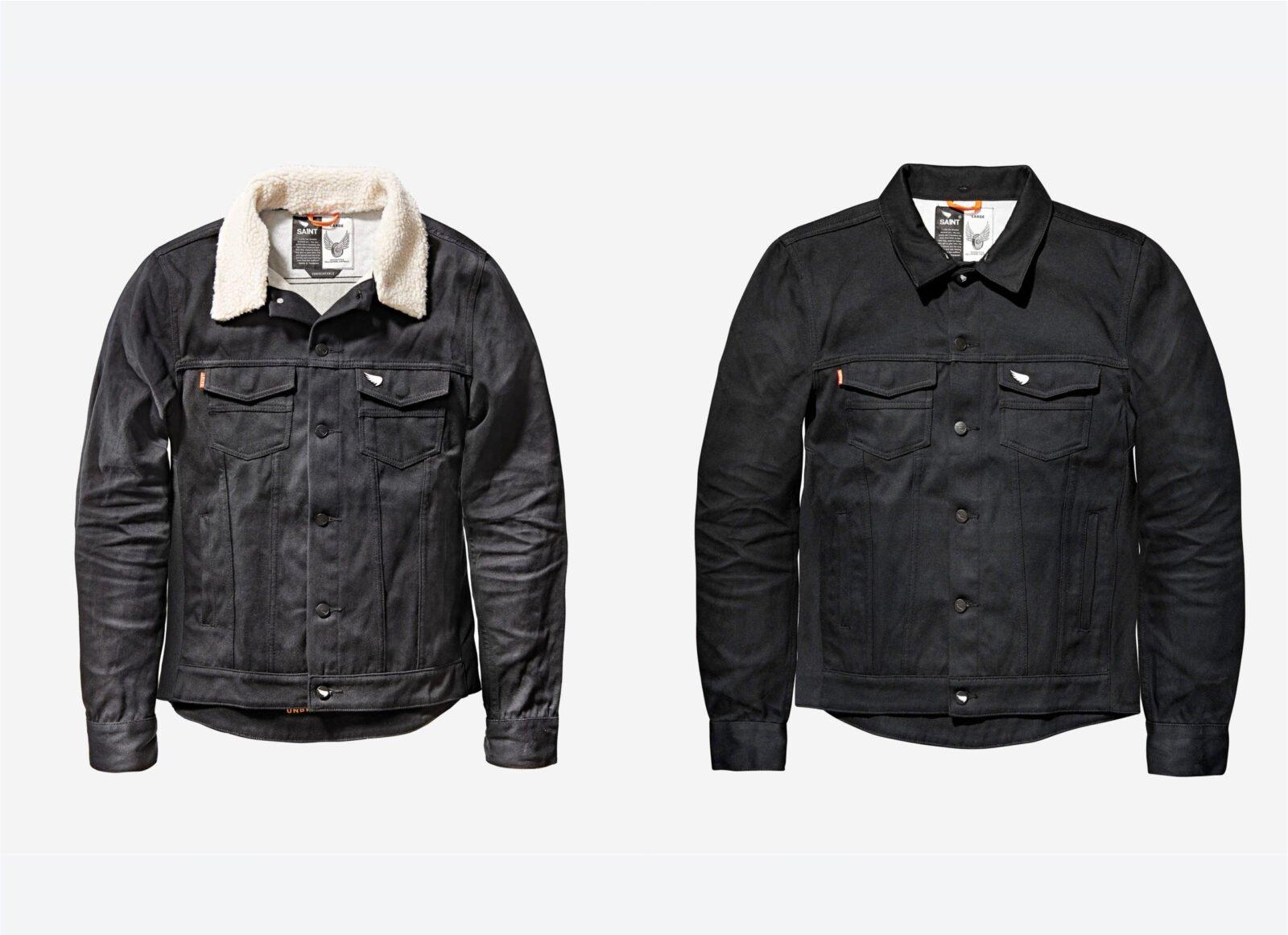 Saint Unbreakable Denim Shearling Collar Motorcycle Jacket